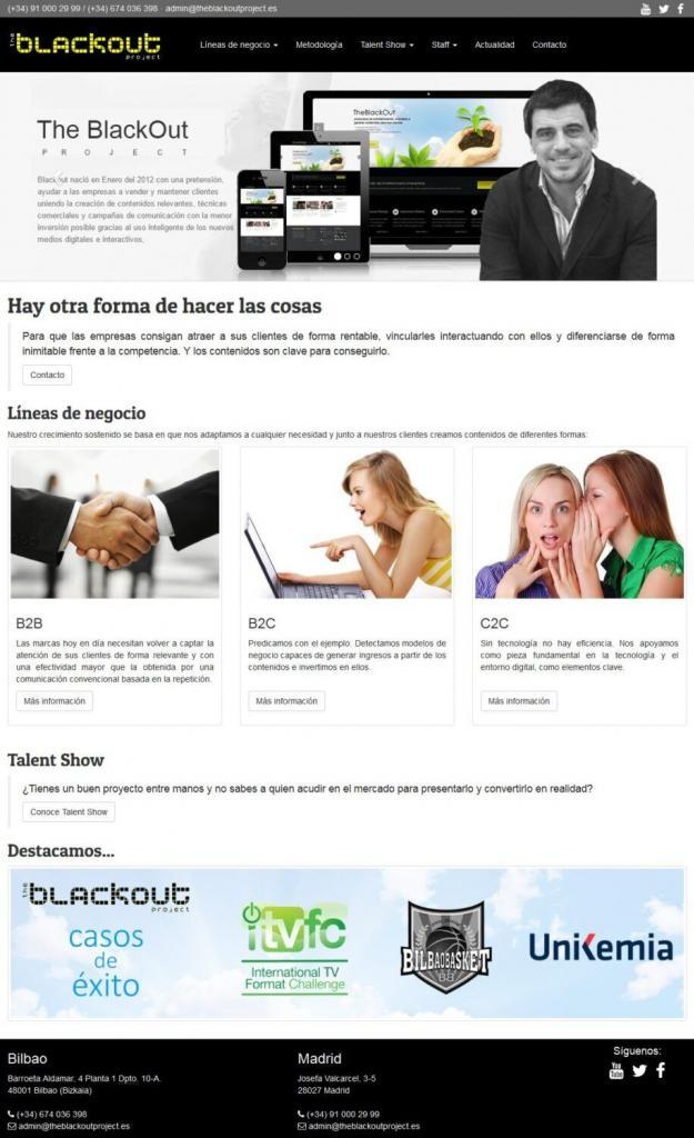 Diseño web The Black Out Project