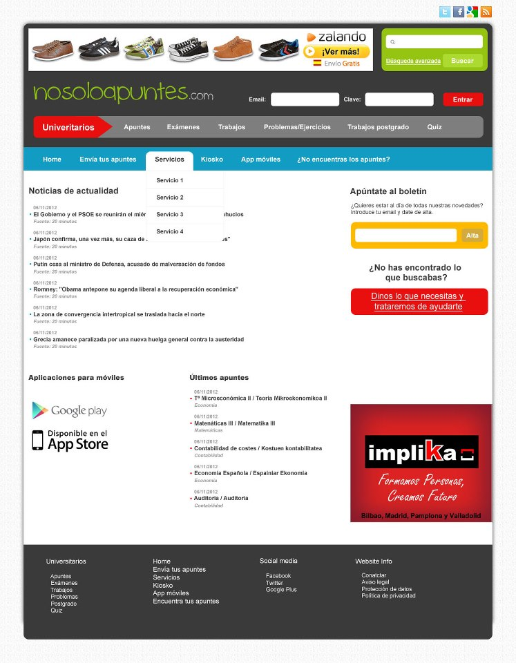 Diseño página web No Solo Apuntes