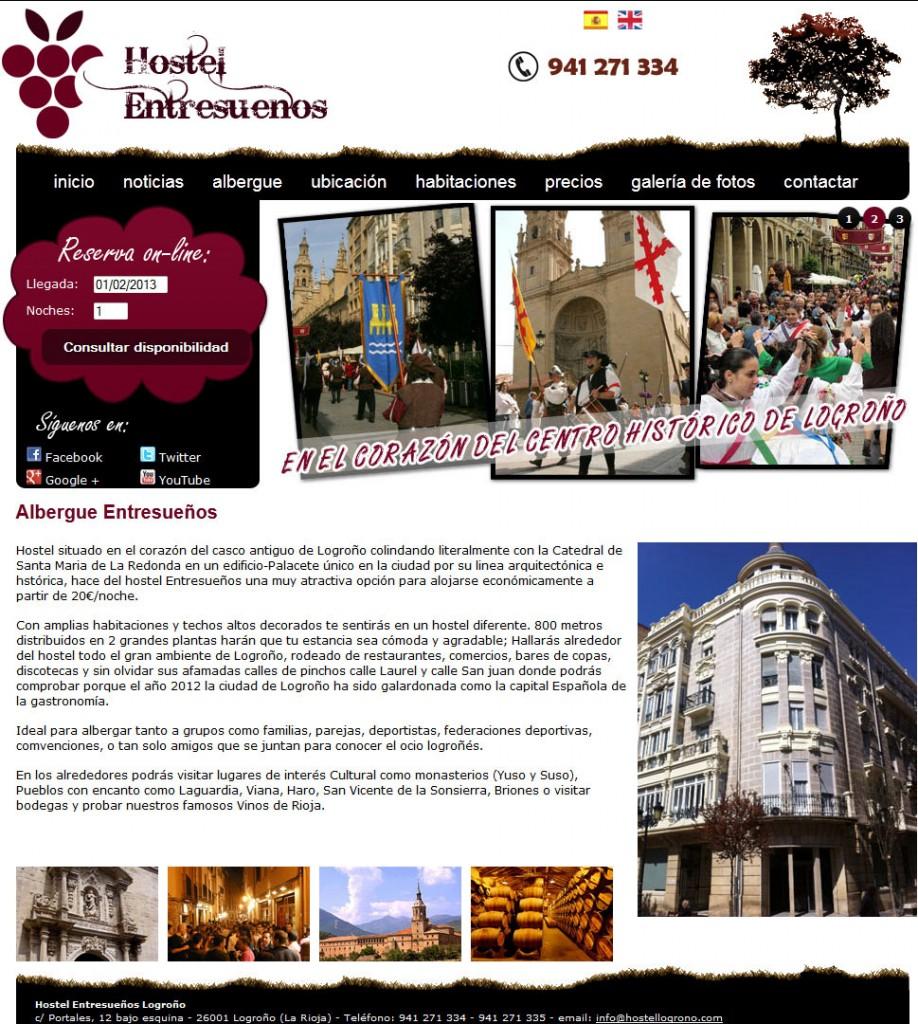 Diseño de página web Hostel Logroño