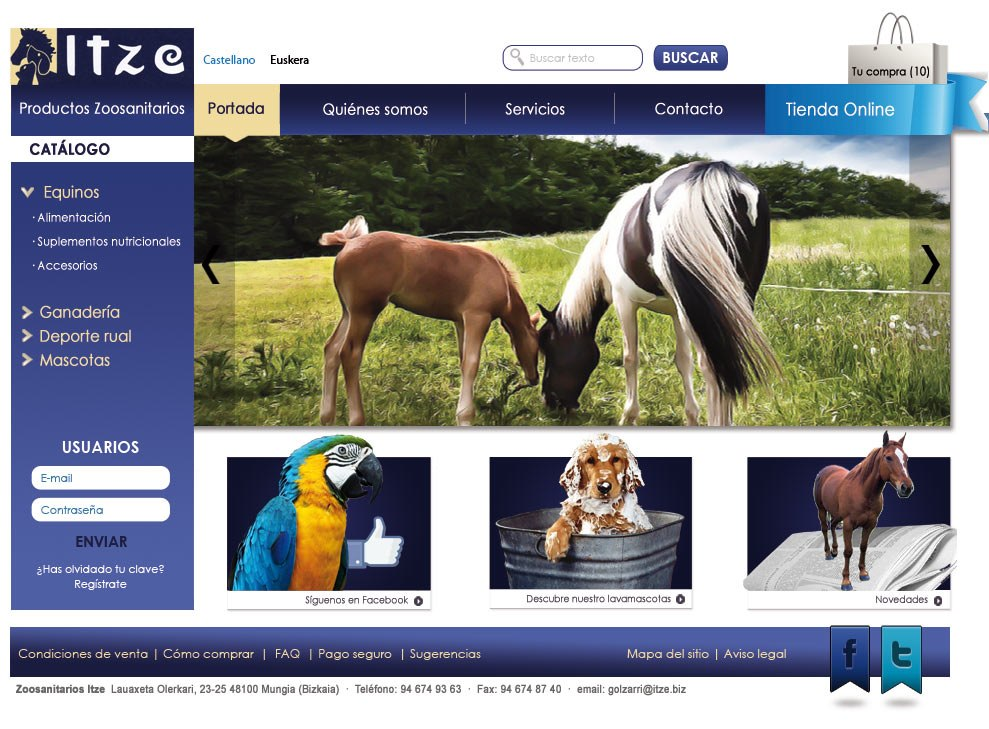 Diseño web Zoosanitarios Itze