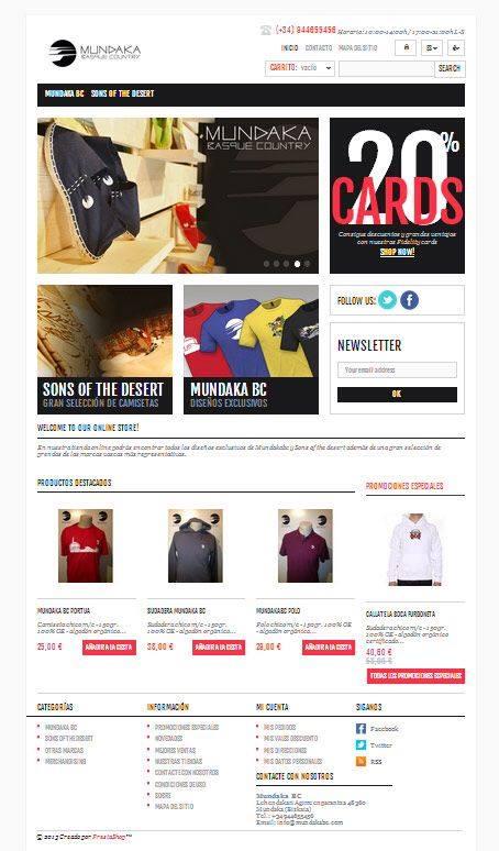 Diseño web de tienda virtual de MundakaBCstore